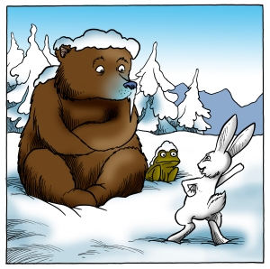 Blue Bear and Snow Toad illustration